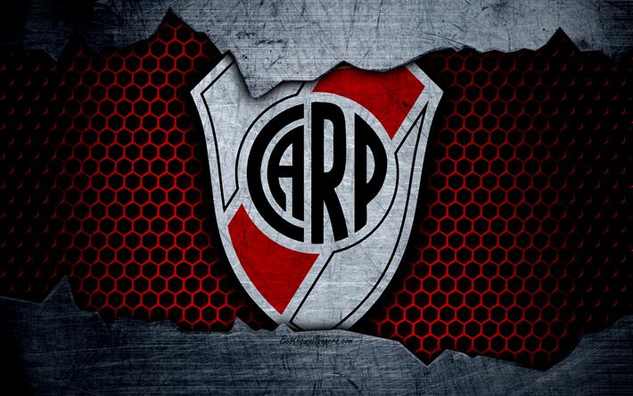 Download Wallpapers River Plate 4k Superliga Logo Grunge