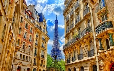 Paris, summer, Eiffel Tower, street, old buildings, french landmarks, France