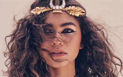 Zendaya, American actress, portrait, makeup, gold jewelry, beautiful woman, Zendaya Coleman