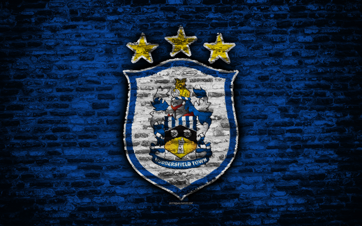 Download Wallpapers Huddersfield Town FC, Logo, Blue Brick