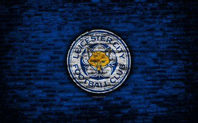 Leicester City FC, logo, blue brick wall, Premier League, English football club, soccer, football, The Foxes, brick texture, Leicester, England