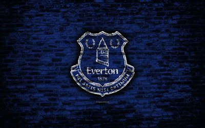 Everton FC, logo, blue brick wall, Premier League, English football club, soccer, football, The Toffees, brick texture, Liverpool, England