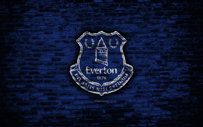 Download Wallpapers Everton FC, Logo, Blue Brick Wall