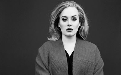 Adele, british singer, portrait, photoshoot, monochrome, british star, popular singers, Adele Laurie Blue Adkins