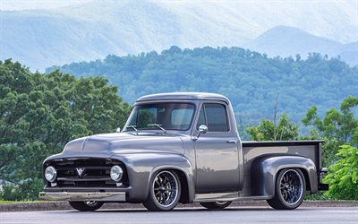 Ford F-100, exterior, front view, gray pickup truck, F-100, classic american cars, Ford