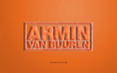 Orange Armin van Buuren Fur Logo, orange background, Armin van Buuren 3D logo, creative fur art, Armin van Buuren emblem, Dutch DJ, Armin van Buuren