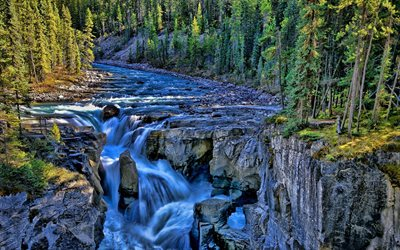 Jasper National Park, mountain river, summer, waterfalls, Canada, beautiful nature, Northern America, HDR