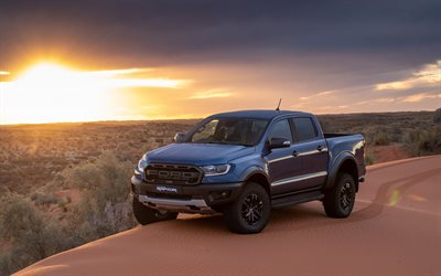 4k, Ford Ranger Raptor, offroad, sunset, 2019 cars, desert, 2019 Ford Ranger Raptor, american cars, Ford