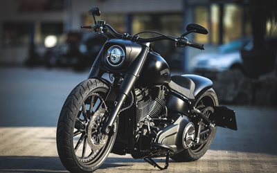 Harley-Davidson, Thunderbike Dark Dude, black matte motorcycle, cool motorcycles, tuning, Customized Harley-Davidson
