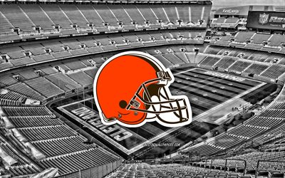 Cleveland Browns, FirstEnergy Stadium, American football team, Cleveland Browns logo, emblem, American football stadium, NFL, American football, Cleveland, Ohio, USA, National Football League