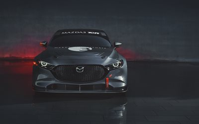 Mazda 3 TCR, 4k, tuning, 2020 cars, front view, tunned Mazda 3, japanese cars, 2020 Mazda3, Mazda