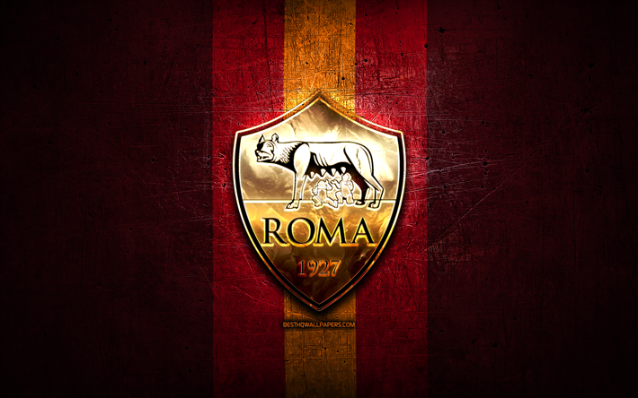 Download Wallpapers Roma Fc Golden Logo Serie A Purple Metal Background Football As Roma Italian Football Club Roma Logo Soccer Italy For Desktop Free Pictures For Desktop Free