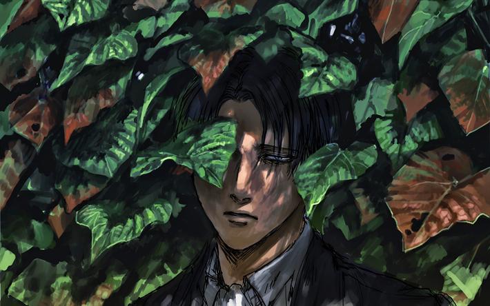 Download Wallpapers Levi Ackerman 4k Attack On Titan Levi Green Leaves Artwork Shingeki No Kyojin Manga Rivai Akkaman For Desktop Free Pictures For Desktop Free