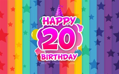 Happy 20th birthday, colorful clouds, 4k, Birthday concept, rainbow background, Happy 20 Years Birthday, creative 3D letters, 20th Birthday, Birthday Party, 20th Birthday Party