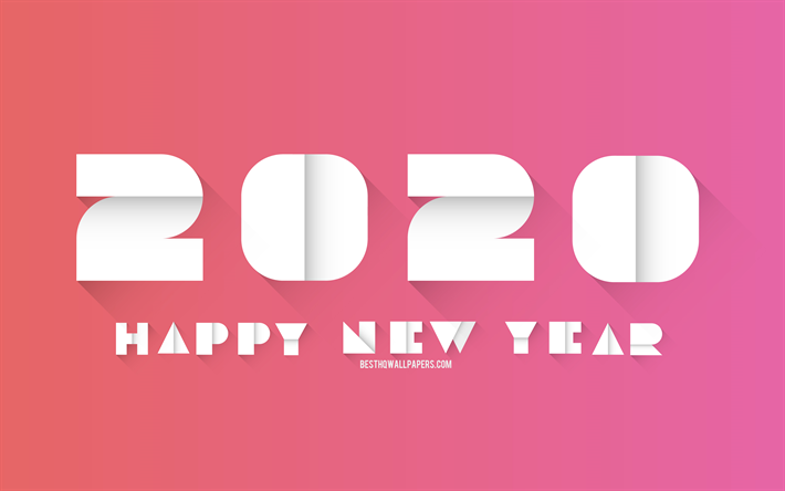 Download wallpapers 2020 Origami Background, Happy New Year