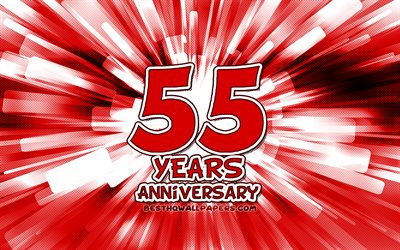 55th anniversary, 4k, red abstract rays, anniversary concepts, cartoon art, 55th anniversary sign, artwork, 55 Years Anniversary