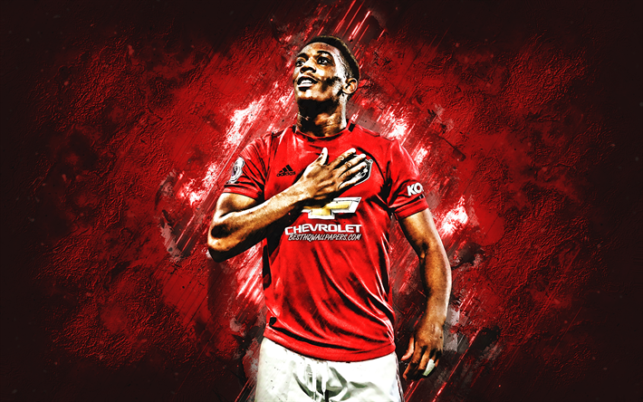 Anthony Martial, Manchester United FC, French footballer, portrait, Premier League, England, football, red creative background