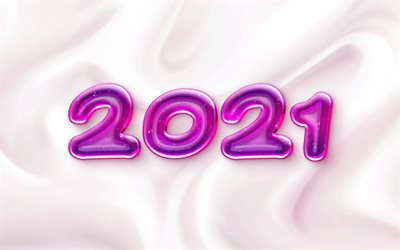 2021 New Year, purple jelly letters, Happy New Year 2021, silk texture, 2021 jelly background, 2021 concepts