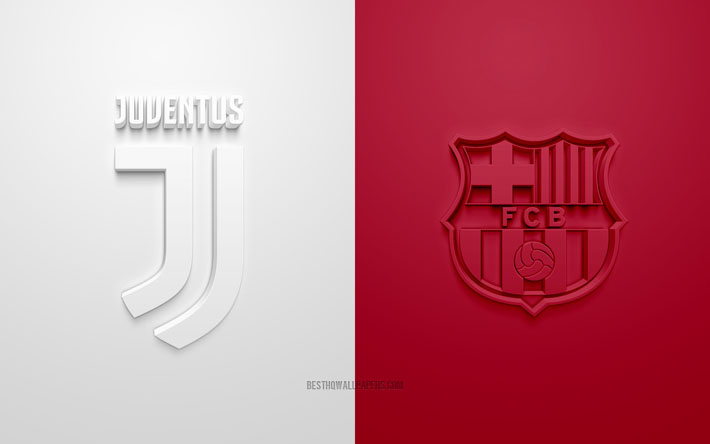 Download Wallpapers Juventus Fc Vs Fc Barcelona Uefa Champions League Group G 3d Logos White Burgundy Background Champions League Football Match Fc Barcelona Juventus Fc For Desktop Free Pictures For Desktop Free
