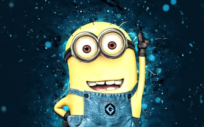 Stuart, 4k, néons bleus, film 2020, Minions The Rise of Gru, fan art, Despicable Me, Minions, Stuart Minions