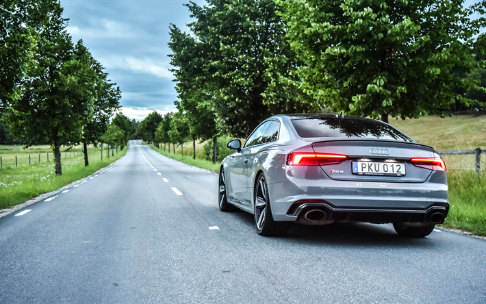 Download Wallpapers 4k Audi Rs5 Coupe Road 2018 Cars German Cars