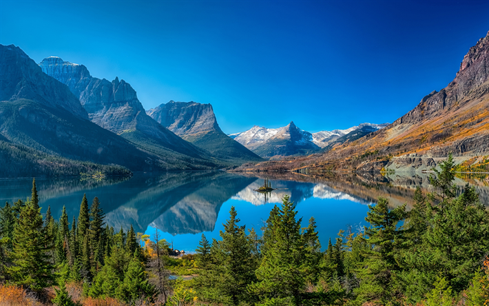 Download Wallpapers Mountain Lake, Forest, Mountain