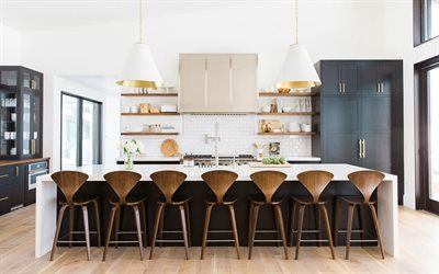 kitchen interior, modern design, kitchen studio, modern bright interior