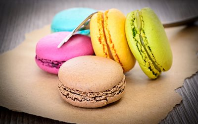 macaroons, colorful biscuits, sweets, pastries, cookies, cupcakes