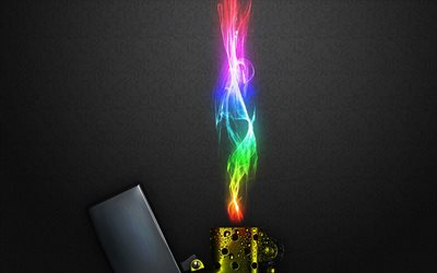 lighter, colorful fire, neon lights, creative