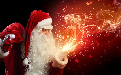 Santa Claus, Christmas, 4k, red bag, magic smoke, New Year, gifts