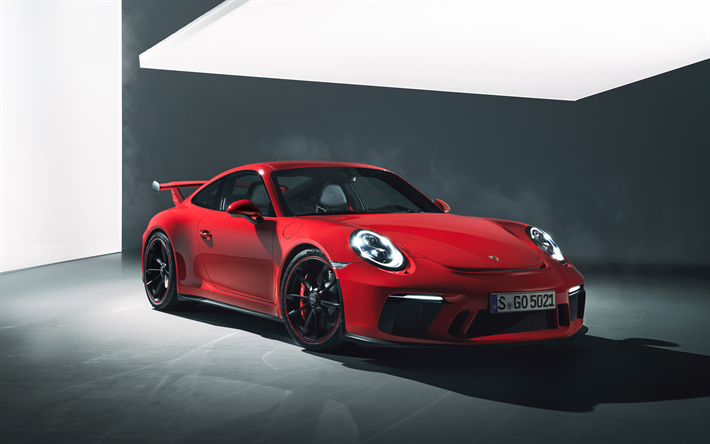 Download Wallpapers Porsche 911 Gt3 2018 4k Red Sports Coupe German Cars Sports Cars Tuning Red Black Wheels Porsche For Desktop Free Pictures For Desktop Free