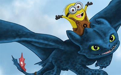 4k, Minion, Toothless, gragon, artwork, creative
