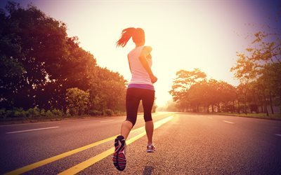 jogging, morning, runners, running girl