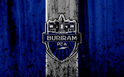 4k, Buriram United FC, grunge, Thai League 1, jalkapallo, art, football club, Thaimaa, Buriram United, logo, kivi rakenne