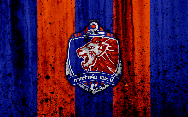 Download wallpapers 4k, FC Port, grunge, Thai League 1, soccer, art, football club, Thailand, Port, logo, stone texture, Port FC for desktop free. Pictures for desktop free