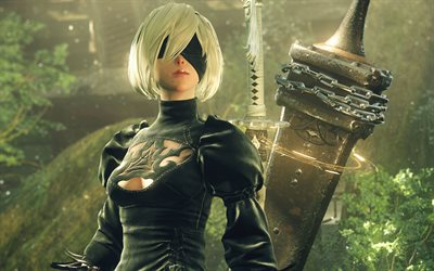NieR Automates, 2017, 4k, d'affiches, de personnages, PlayStation 4, Windows