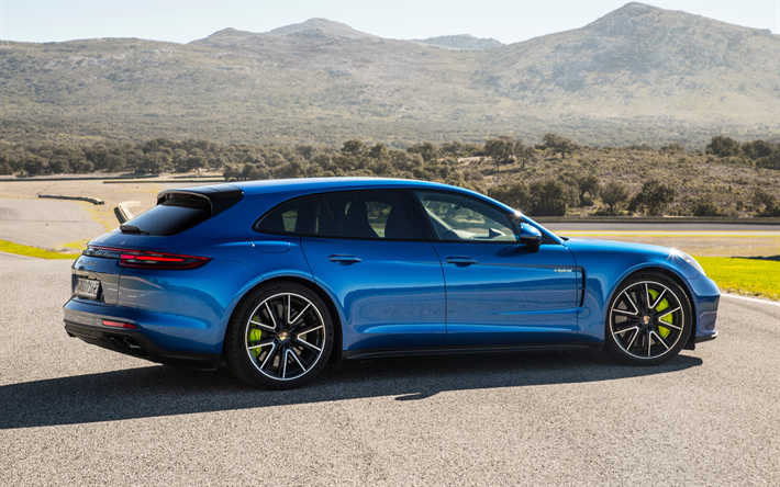 download wallpapers porsche panamera turbo s 2018 e hybrid 4k blue sports coupe tuning