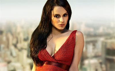 Kangana Ranaut, 4k, Bollywood, Indian actress, red dress, makeup, photoshoot