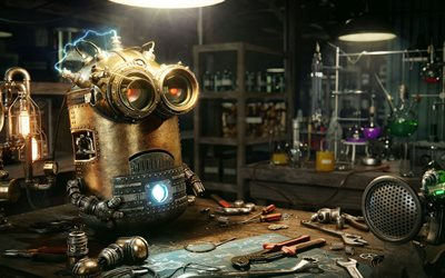 Kevin, robot, minion, Despicable Me, steampunk, 2017 movies, minions