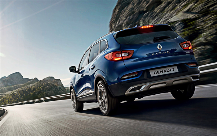 Renault Kadjar, 2019, blue compact crossover, new blue Kadjar, rear view, french cars, Renault