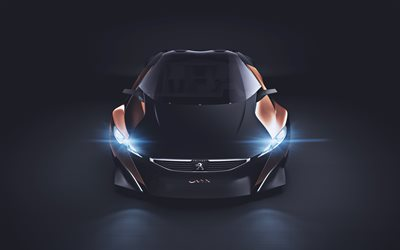 Peugeot Onyx Concept, 4k, 2019 coches, azul faros, los coches franceses, Peugeot