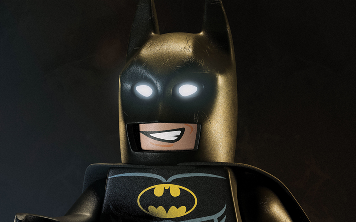 4k, Batman, night, 3D art, The Lego Batman Movie, Batman lego