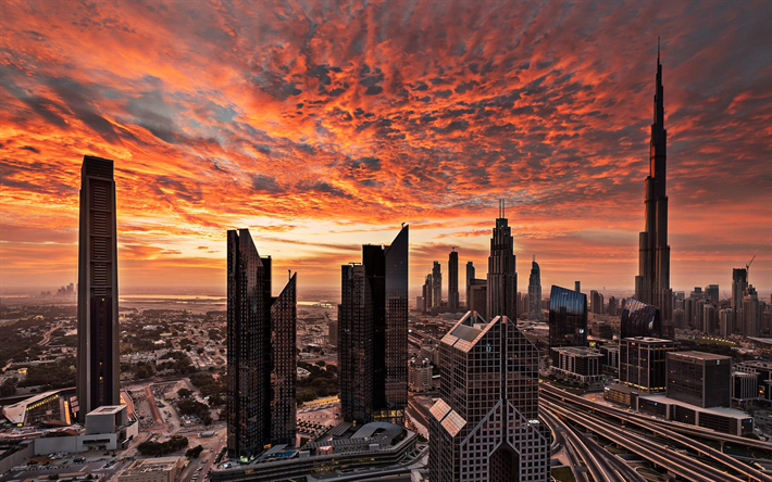 UAE, Dubai, sunset, cityscapes, skyscrapers, United Arab Emirates
