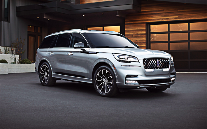 Lincoln Aviator, Grand Touring, 2020, PHEV, luxury SUV, front view, new silver Aviator, american cars, Lincoln