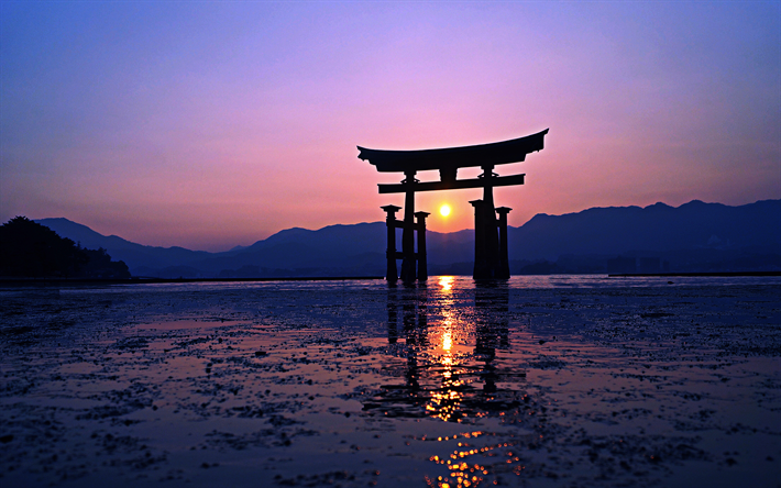 Torii, 4k, Japanese gate, sunset, HDR, gate in the water, Asia, Japan