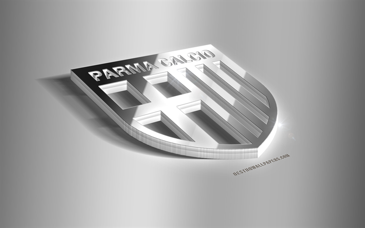 Parma Calcio, 3D steel logo, Italian football club, 3D emblem, Parma, Italy, Parma FC metal emblem, Serie A, football, creative 3d art
