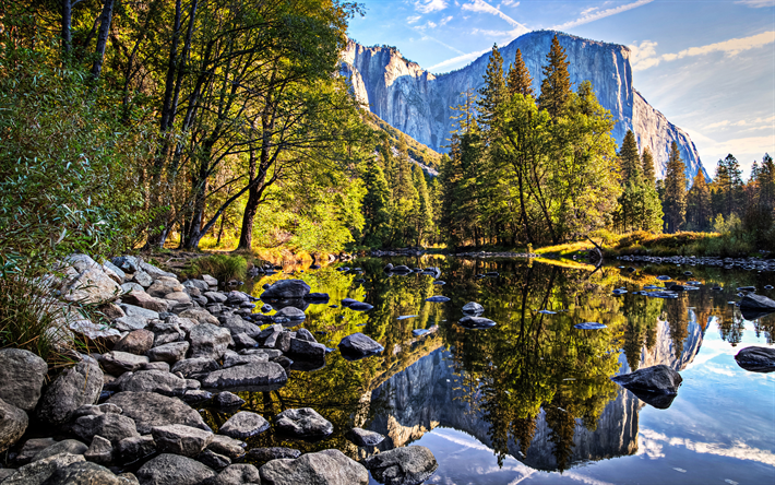 Yosemite, river, National Park, summer, mountains, Yosemite National Park, USA, America