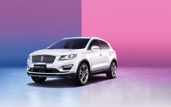Lincoln MKC, 2019, compact crossover, new white MKC, front view, exterior, american cars, Lincoln