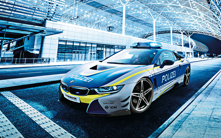 BMW i8 Police Concept, road, 2018 cars, electric cars, police i8, german cars, BMW