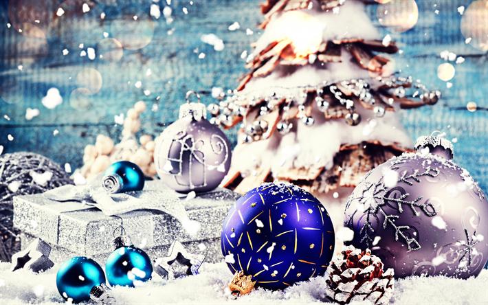 Xmas Deko Weihnachtsbaum.Herunterladen Hintergrundbild Xmas Kugeln Weihnachtsbaum Geschenk